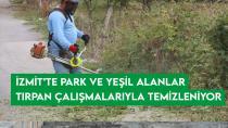İzmit'te park ve yeşil alanlar tırpan çalışmalarıyla temizleniyor